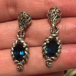 Carolyn Pollack Blue Topaz Sterling Drop Earrings